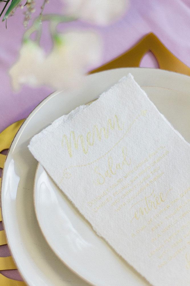 Wedding stationery - menu