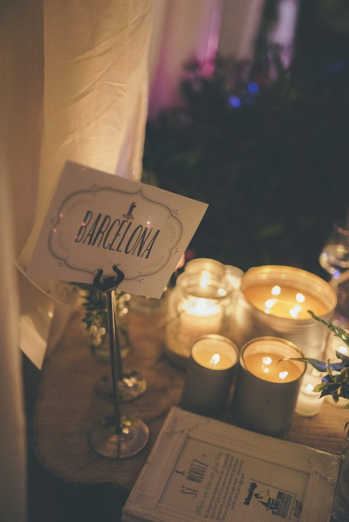 Table number signage by group of candles